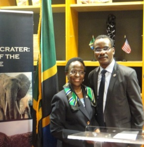 Her Excellency Liberata Mulamula, Tanzanian Ambassador to the United States with Dr. Sylvester Okere