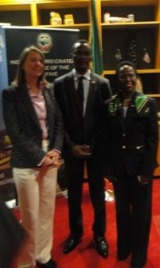 (Left to Right) Western Union Vice President, Barbara Span, Dr. Sylvester Okere and Her Excellency Liberata Mulamula, Tanzanian Ambassador to the United States