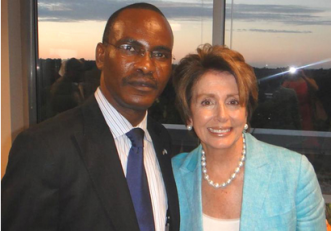 Dr. Sylvester Okere Pictured with Honorable Nancy Pelosi (D-CA / House Minority Leader)