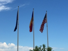 Flags outside mess hall