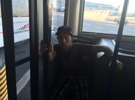 On the bus, Mark D'Angola looked a little tired.
