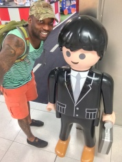 Sheron Schley with a Playmobile Figure