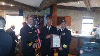Pictured: Navy Captain, Christopher Bergen, Freeholder Joseph Vicari, and Navy Captain Christopher Fletcher