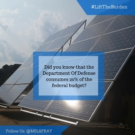 Did you know that the @DeptOfDefense consumes 20% of the federal budget- Let's help them #LightenTheBurden of energy costs. #RT if you agree (1)