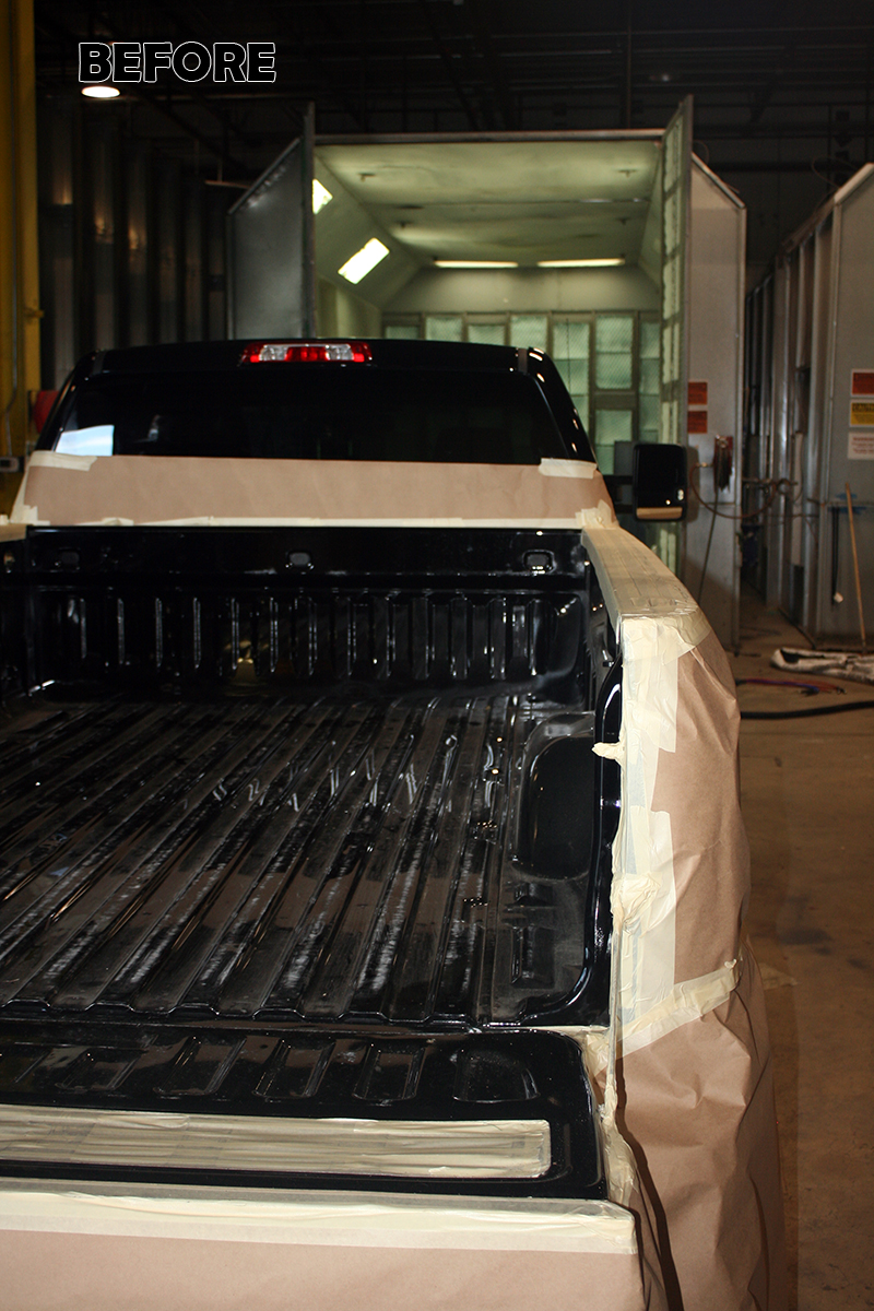 Before Tough Coat on GMC Sierra Bed Liner