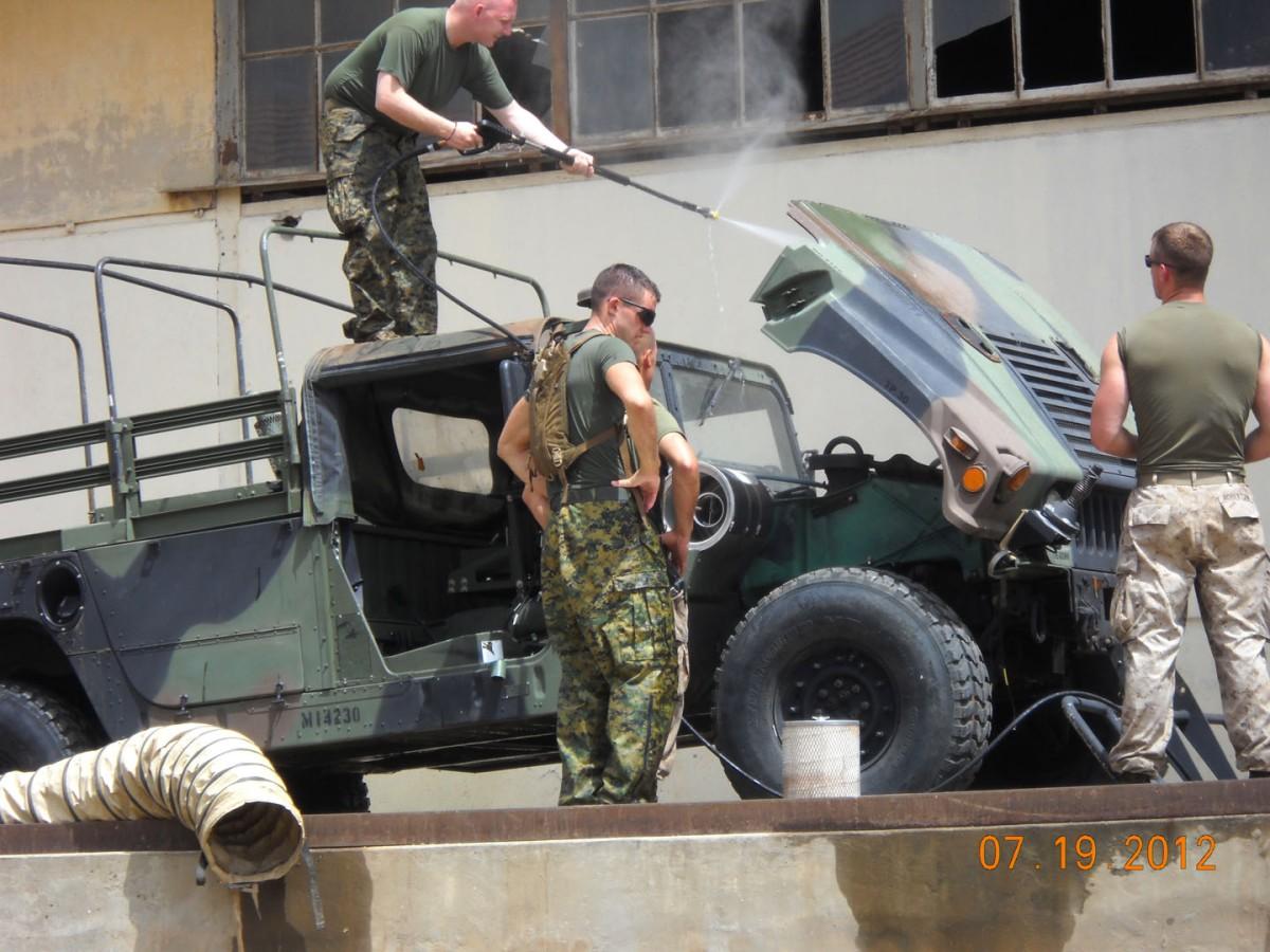 USMC using Vehicle Wash System in Dakar, Senegal.