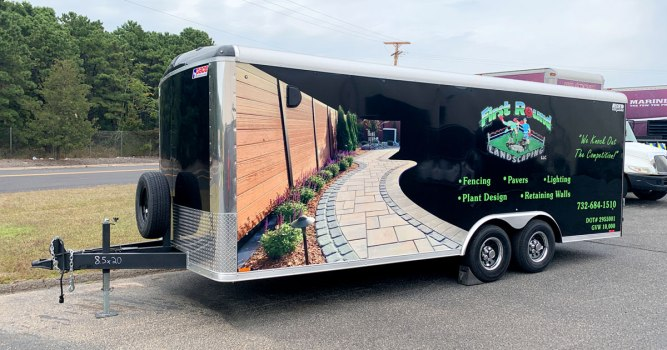 First Round Landscaping Trailer Tough Coat Bed Liner